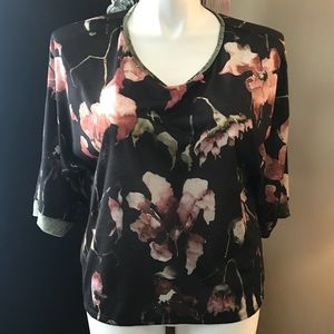 Zara velvet trimmed t shirt - never worn